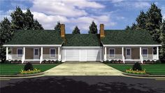Great Duplex Design in Many Sizes - 5101MM | 1st Floor Master Suite, CAD Available, Den-Office-Library-Study, PDF, USDA Approved | Architectural Designs