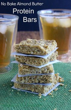 Almond Butter Protein Bars are not only packed with nutrients but they are quick and perfect for anytime of the day. Grab one for a snack and high energy.