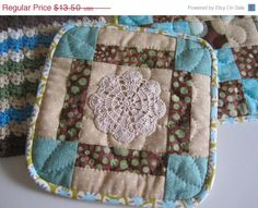 Hand Quilted Pot by thequiltedtulip on Etsy, Kitchen Quilt Potholders Housewarming Gift