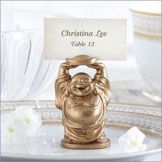 """""""Laughing Buddha"""" Golden Buddha Wedding Place Card/Photo Holder (Set of 4)"""