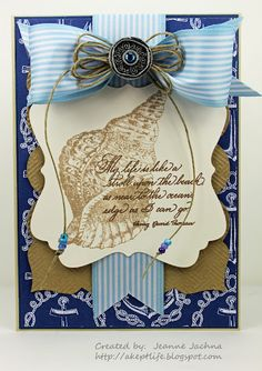 "A Kept Life: card made using Serendipity Stamps ""My Life"" and ""Triton Shell"" rubber stamps."