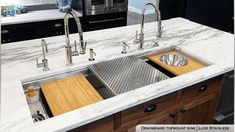 A chef's #DreamKitchen! Beautiful and functional, Our Eclipse Dual-Tier Sink in Prestige Stainless is a highly advanced workstation #sink. Imagine how easy cooking prep and clean up would be in this #kitchen Follow 👉 @havens_metal for more designs HavensMetal.com Undermount Stainless Steel Sink, Stainless Steel Cleaner, Stainless Kitchen, Stainless Steel Types, Kitchen And Bath Gallery, Havens Kitchen, Stone Benchtop, Sink Accessories, Luxury Homes