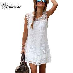 Vestido de verão Zanzea Sexy curto e sem mangas ocasional praia, cor sólida  Mini vestido de renda.