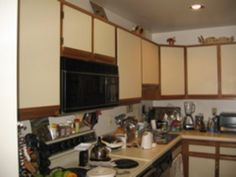 Formica kitchen cupboards painted over.