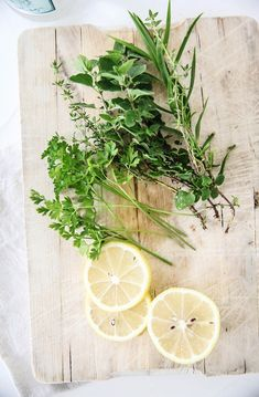 Fresh herbs and lemon. Photographer Kirstine Mengel like this