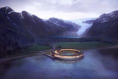 Scheduled to open in 2022, Svart (Norwegian for black) is to be the world's first energy positive hotel within the Arctic circle. The hotel is located at the foot of the Svartisen glacier. Bad Hotel, Travel Reviews, Arctic Circle, Online Travel, Great Hotel, Hotel Deals, Plan Your Trip, Hotel Reviews, Best Hotels