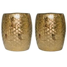 A Pair Of Fine Carved Gilt Porcelain Stools   From a unique collection of antique and modern stools at http://www.1stdibs.com/furniture/seating/stools/