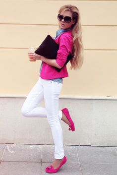 For me - pink cardi in place of blazer