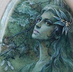 """Купить Подвеска """"Дриада"""" - лаковая миниатюра, масляная живопись, натуральный камень, моховый агат, кулон"""