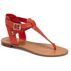 Vince Camuto Miya- Buckle T-Strap Flat Sandal ($45) ❤ liked on Polyvore featuring shoes, sandals, cherry new vachetta, vince camuto, buckle sandals, flat shoes, vince camuto shoes and t bar shoes