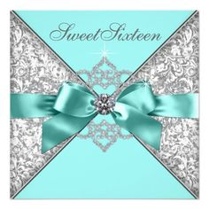 White Diamonds Teal Blue Sweet 16 Birthday Party Invitation at Zazzle Teal Wedding Invitations, Sweet Sixteen Invitations, Birthday Party Invitations, Wedding Card, Quince Invitations, Unique Invitations, Invitation Ideas, Shower Invitation, Invitation Cards