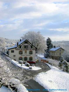"""Rechtenstein, # 1 (""""Second Christmas Day"""" in Germany) - seen from my balcony. - As I awaked this morning, I didn't know - is it true or is it just a dream? ---> ITS TRUE ! Not much snow - BUT SNOW ! White Christmas, Winter Wonderland, Balcony, Germany, Merry, Snow, Mansions, Landscape, House Styles"""