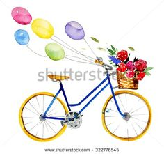 Hand drawn watercolor isolated bike illustration with balloons and flowers in vintage style. Set. Watercolor retro bike.