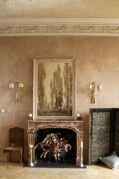 Beautiful apartment in west London available for photoshoots and filming with wooden floors, quirky furniture and large windows. Mantle Art, Fireplace Mantle, Fireplace Surrounds, English Country Style, French Country House, Distressed Walls, London Location, Holland Park, Brown Art