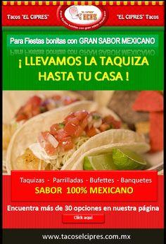 Llevamos la Taquiza Mexicana a tus Fiestas 60 Guisos a escoger y ARROZ, FRIJOLES Y UNA ENSALADA de Nopales para acompañar con dos Ricas salsas