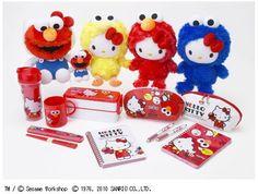 Adoraria ter na minha coleção essa #Wishlist de #Pelúcias e produtos da #HelloKitty fantasiada de outros personagens | www.corujinhalulu.com ---  #Sario #VilaSésamo m #Elmo