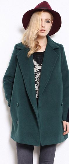 Solid Double Breasted Lapel Long Coat
