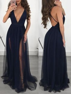See Through Mesh Plunge Slip Maxi Dress