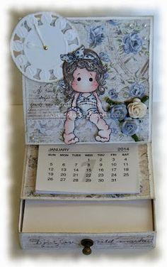 Magnolia - Marinas Karten-Kiste: Kalender-Notizzettel-Box