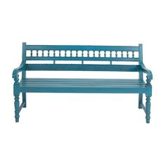 The glorious turquoise blue finish on this DecMode Turquoise Blue 63 in. Mahogany Wood Bench enhances its intricate detailing. Outdoor Retreat, Outdoor Decor, Traditional Benches, Wooden Garden Benches, High Quality Furniture, Wood Construction, Turquoise, Home Decor, Entryway Bench