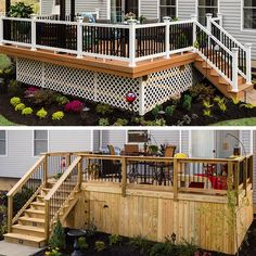 Dress up your deck with lattice skirting. Attach framing to the posts and screw on lattice. On a composite deck, finish the look with vinyl trim to cover the posts and composite material to cover the joists. Make a wood deck stand out with skirting cut from deck boards.
