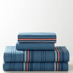 This cool and crisp sheet set brings comfort and must-have style to your dorm. With a flat sheet, fitted sheet and standard pillow cases, it dresses your bed in designer pattern. Flat Sheets, Bed Sheets, Vintage Sports Nursery, Pbteen, Getting Cozy, Sheet Sets, Kids Bedroom, Pattern Design, Stripes