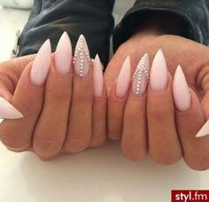 Light Pink Stiletto Acrylic Nails w/ Rhinestones