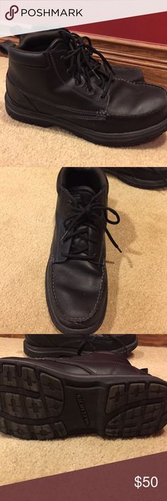 Mens Skechers 11.5 Black Leather Boots Memory Form Black boots. Leather feel. Memory form, gel infused. Relaxed fit. Like new, probably worn 3 times. Skechers Shoes