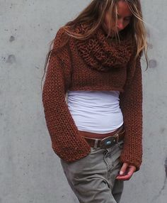 cropped sweater shrug copper brown chunky cropped sweater / snug shrug / iLE AiYE / READY TO SHIP