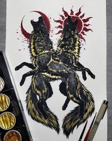 Mythology and Fantasy in Animal Paintings Dark Art Drawings, Pencil Art Drawings, Animal Drawings, Art Sketches, Viking Symbols, Viking Art, Norse Tattoo, Occult Art, Art Prompts