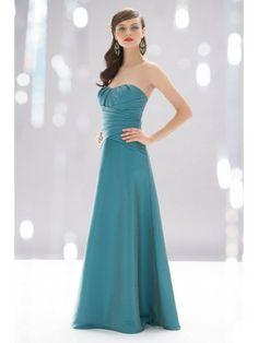 Taffeta Strapless Draped Neckline Floor-Length Bridesmaid Dress