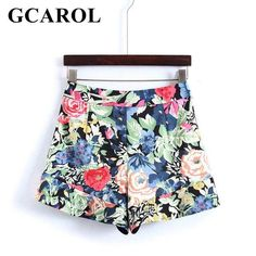 4273a343357 GCAROL 2018 New Arrival Women Floral Shorts Mid Waisted 4 Bottom Colorful  Shorts High Street Summer Sweet Shorts