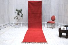 Berber runner 3x13 Solid Red Hallway rug Moroccan Berber Rug Moroccan Rug long Berber Hallway Runner Teppich Tapis boho Couloir tapis
