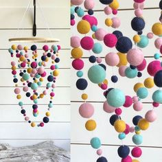 The mobile can be defined as moving sculpture. Early mobiles did not necessarily move, as do most crib mobiles today. The modern crib mobile is… Crafts For Teens To Make, Easter Crafts For Kids, Crafts To Sell, Easy Crafts, Diy And Crafts, Craft Stick Crafts, Felt Crafts, Craft Ideas, Pom Pom Mobile