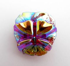 Red vitrail pansy flower Czech glass button with shank. This lovely pansy flower…