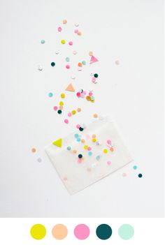 Love the pastel colours, and the idea of incorporating confetti into my site.   I could definitely see my brand items in transparent envelopes plus pastel confetti.