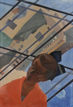 Leonid Chupyatov - Портрет с архитектурным пейзажем - Portrait avec un paysage architectural, 1922 Harlem Renaissance, Kandinsky, New Objectivity, Soviet Art, Magic Realism, Constructivism, Art Deco, Art Et Illustration, Russian Art
