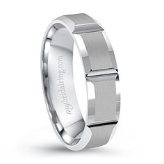 Swiss Cut Engagement Band In 14K White Gold - Comfort Fit Men's wedding band -Our Price: $999.99 -  Metal Type:  14K White Gold - 7-10 days for delivery - http://www.mybridalring.com/Mens/beveled-swiss-cut-engagement-band-in-14k-white-gold/