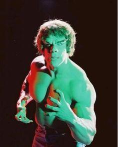 The Incredible Hulk, ne Lou Ferigno in green paint...
