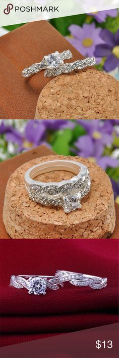 Two piece set Cubic Zirconia Silver Ring Size 7. Brand new. Never worn. Cubic zirconia wedding ring set . Sterling silver.   Wrapped and shipped with care . ice Jewelry Rings