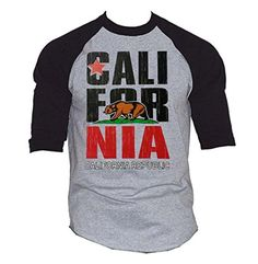 New Men's California Republic Vintage Baseball T-Shirt Black/Gray S-3XL (L, Black/Gray) - Brought to you by Avarsha.com
