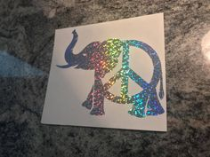 Holographic Vinyl Elephant Peace Sign Decal