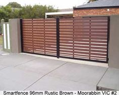 Resultado de imagen para sliding driveway gates with pedestrian access Wood Fence Gates, Wooden Gates, Fences, Tor Design, Fence Design, Front Gates, Entrance Gates, Side Gates, Diy Driveway