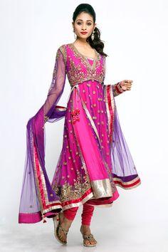 Pink Purple Jacket Anarkali
