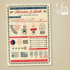 Modern Baby Boy Infographic Birth Announcement Design of Kids Birth Invitation Cards Design Gallery  . 588x588 pixels