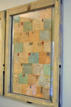 DIY: Frame grandmas handwritten recipes in a salvaged window. This is a great idea!