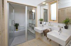 Modern take on a traditional Japanese bathroom.