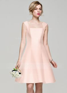 A-Line/Princess Square Neckline Knee-Length Satin Bridesmaid Dress (007072820)