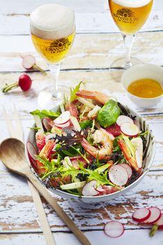 Salade de crevettes, radis et pamplemousse