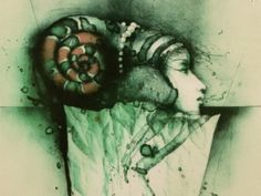 """Colour etching""""Girl's head with snail"""", Vladimir Suchanek, 1990"""